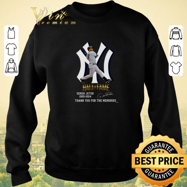 Premium New York Yankees Hall of Fame Derek Jeter 1995-2014 signature thank you for the memories shirt