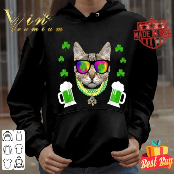 St Patrick's Day 2018 Funny Cat Sunglasses Beer Bead shirt