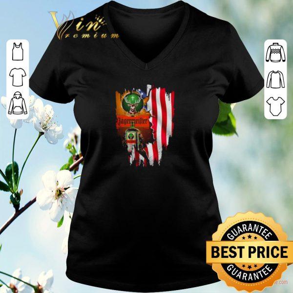 Top Jagermeister mashup American flag shirt sweater