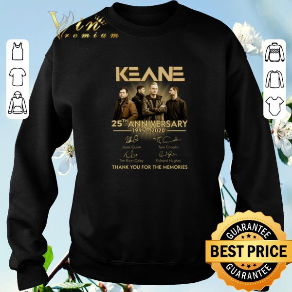 Top Keane 25th anniversary 1995-2020 signatures thank you for the memories shirt