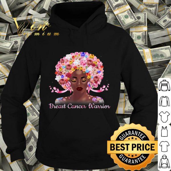Afro Flowers Hair Art Black Queen Breast Cancer Awareness shirt