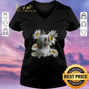 Awesome Shih Tzu Daisy Flower Butterfly shirt sweater 1