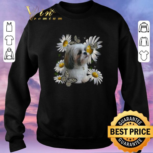 Awesome Shih Tzu Daisy Flower Butterfly shirt sweater