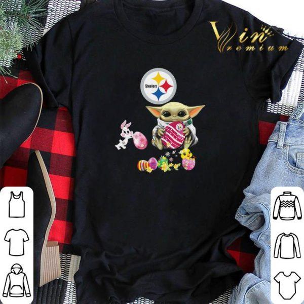 Baby Yoda Hug Pittsburgh Steelers eggs Fertility at Easter shirt sweater