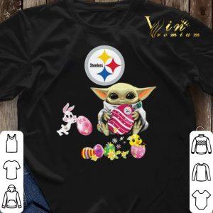 Baby Yoda Hug Pittsburgh Steelers eggs Fertility at Easter shirt sweater 2
