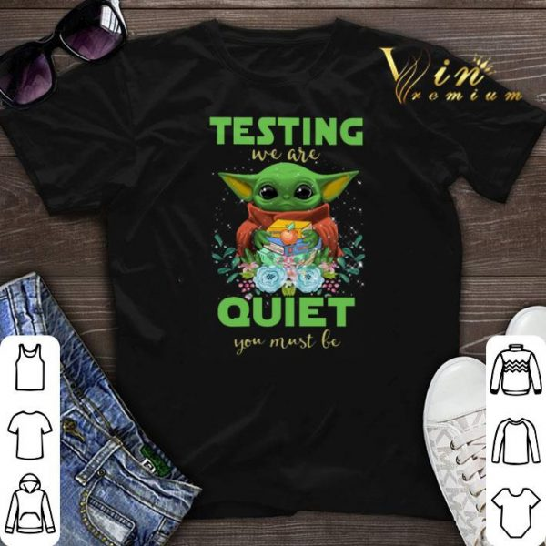 Baby Yoda hug book testing we are quiet you must be Star Wars shirt sweater