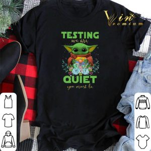 Baby Yoda hug book testing we are quiet you must be Star Wars shirt sweater 1