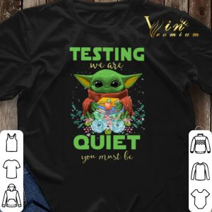 Baby Yoda hug book testing we are quiet you must be Star Wars shirt sweater 2
