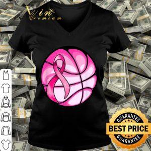Basketball Pink Ribbon Girls Breast Cancer Awareness shirt