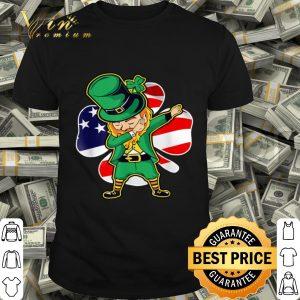 Dabbing Leprechaun American Flag Shamrocks St. Patricks day T-shirt