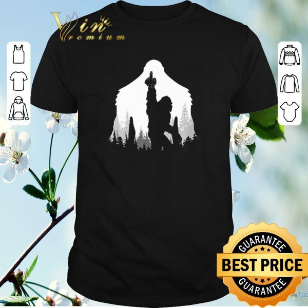 Funny Bigfoot middle finger in the forest shirt sweater