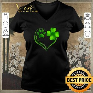 Funny Love dog paw heart happy St. Patrick's day shirt sweater 1