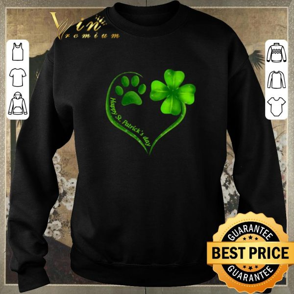 Funny Love dog paw heart happy St. Patrick's day shirt sweater