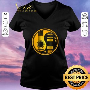 Funny Yellow and Black Acoustic Electric Guitars Yin Yang Baseball shirt sweater 1