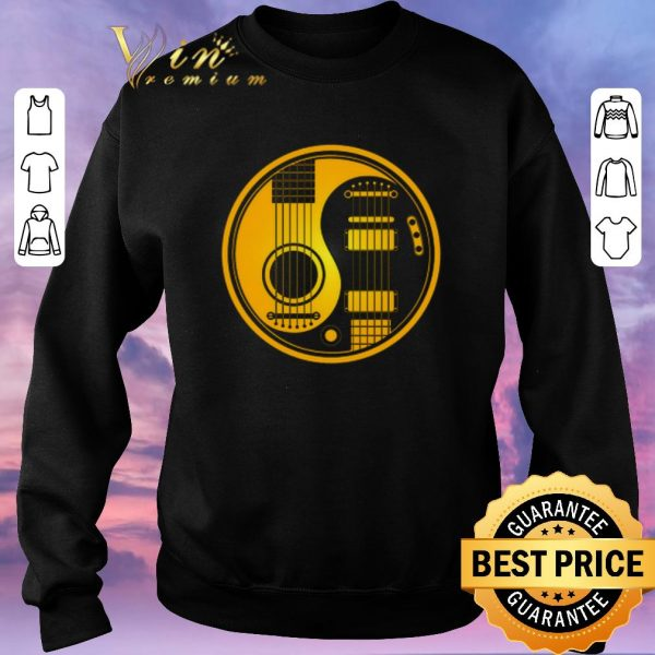 Funny Yellow and Black Acoustic Electric Guitars Yin Yang Baseball shirt sweater
