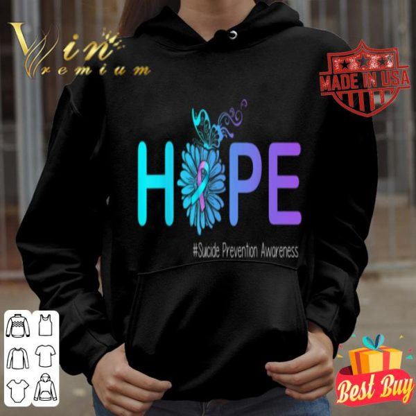 HOPE Butterfly Flower Suicide Prevention Awareness Gifts shirt