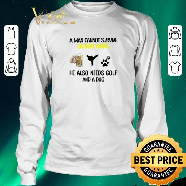 Hot A man cannot survive on beer alone he also needs karate and a dog paw shirt sweater