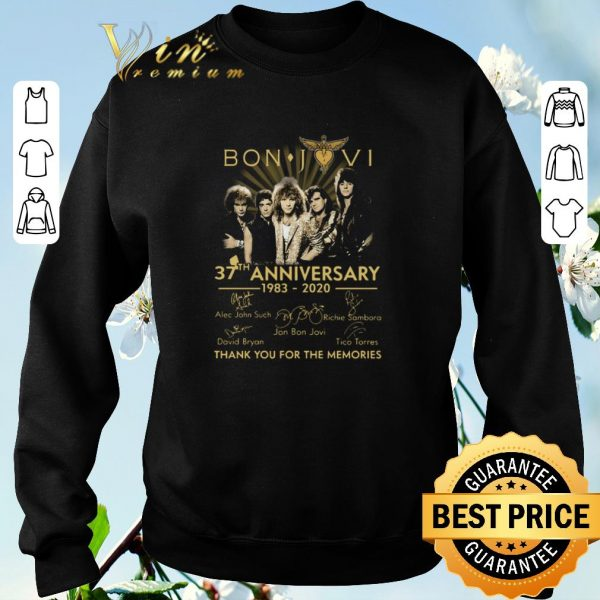Hot Bon Jovi 37th Anniversary 1983 2020 Thank You For The Memories Signatures shirt sweater