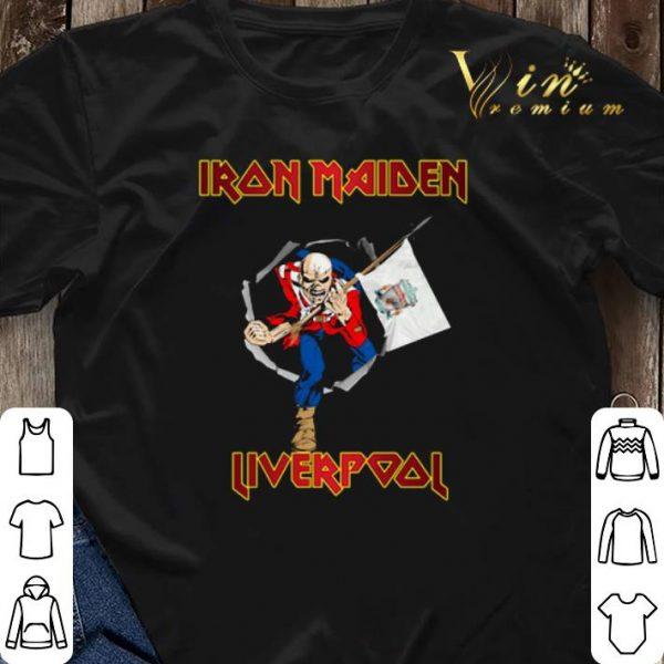 Iron Maiden hold Liverpool flag shirt sweater