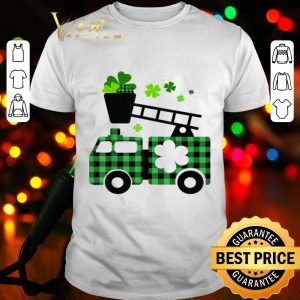 Kids Fire Truck Buffalo Plaid St Patricks Day Firefighter T-shirt