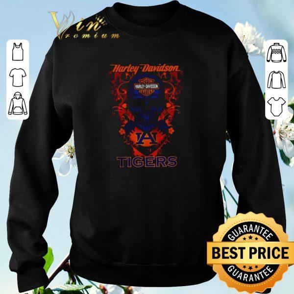 Nice Skull Motor Harley-Davidson Cycles and Auburn Tigers Logo shirt sweater