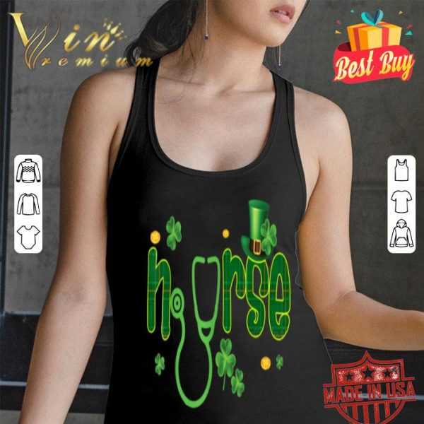 Nurse Shamrock Stethoscope St Patricks Day T-shirt