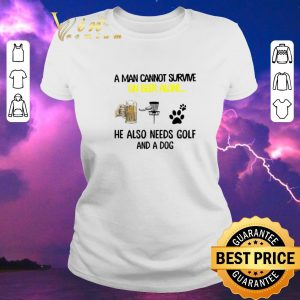 Official A man cannot survive on beer alone he also needs Disc Golf and a dog shirt sweater 1