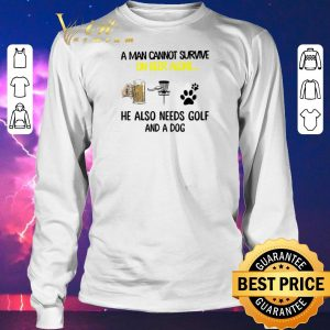 Official A man cannot survive on beer alone he also needs Disc Golf and a dog shirt sweater 2