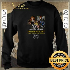 Original 45 years of 1946-1991 Freddie Mercury thank you for the memories shirt sweater 2