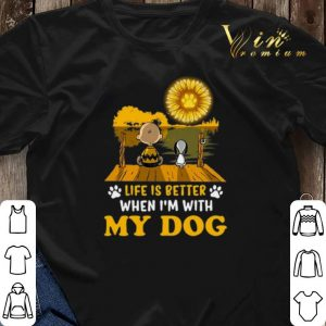 Snoopy Charlie Brown life is better when i'm with my dog paw sunflower shirt 2
