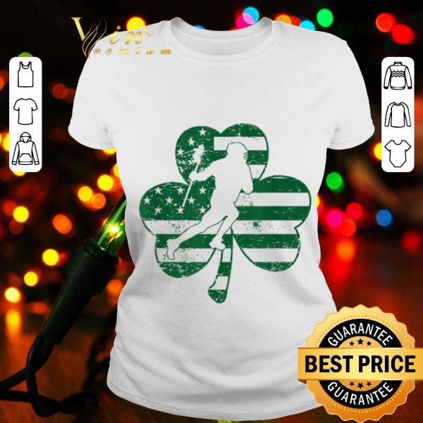 St Patricks Day Lacrosse Shamrock American Flag Sport Gifts T-shirt