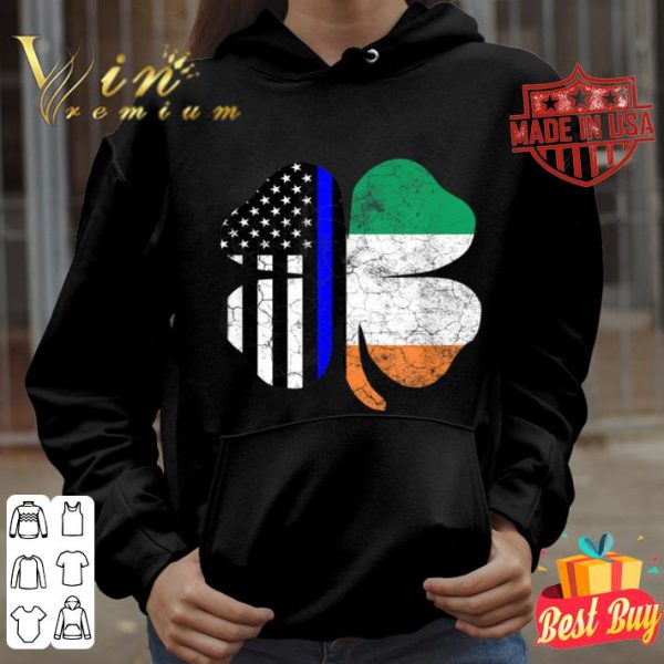 Thin Blue Line St. Patrick's Day American Irish Flag Police T-shirt