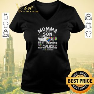 Top Momma and Son best friends for life fight for acceptance autism awareness shirt sweater 1