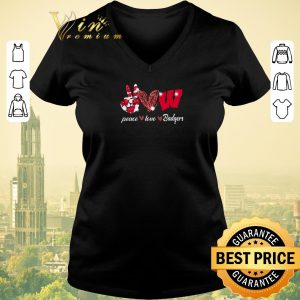Top Peace love Wisconsin Badgers Logo shirt sweater 1