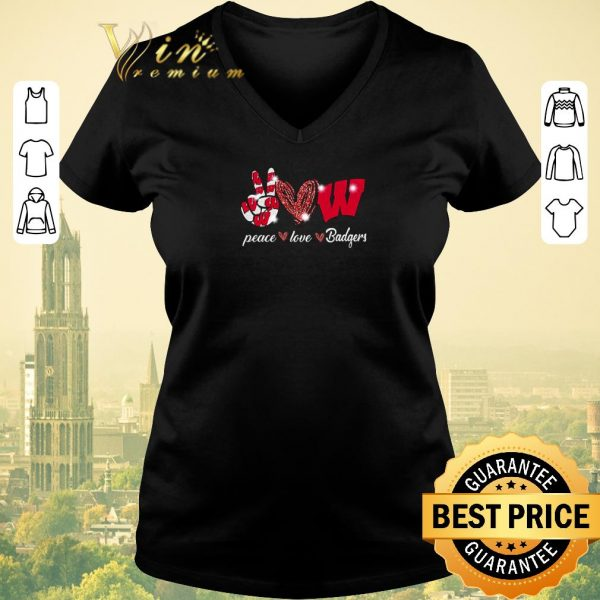Top Peace love Wisconsin Badgers Logo shirt sweater