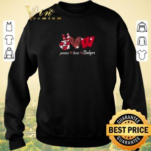 Top Peace love Wisconsin Badgers Logo shirt sweater 2