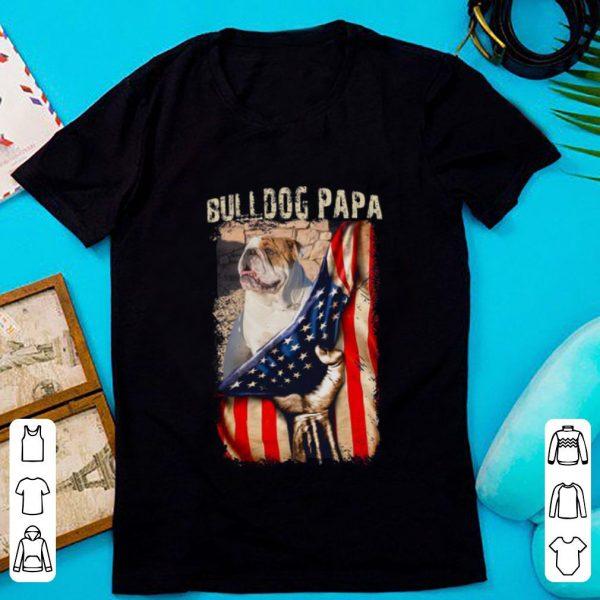 Bulldog Papa American Flag Shirt