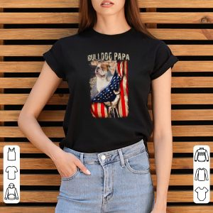 Bulldog Papa American Flag Shirt 2