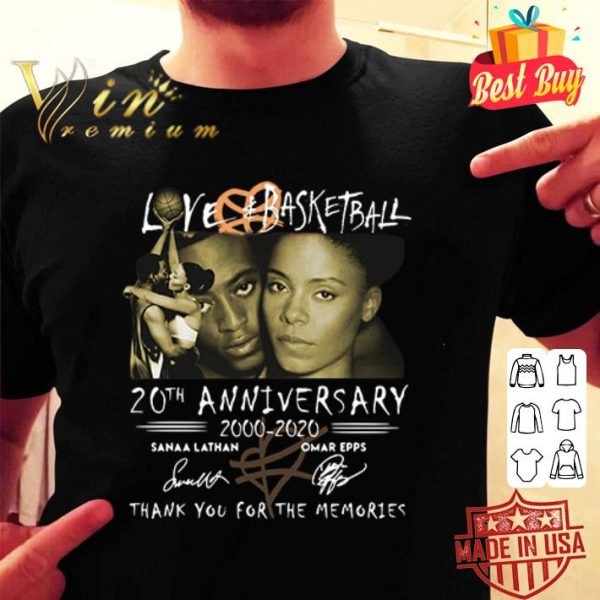 Love Basketball 20th anniversary 2000-2020 thank you for the memories signatures shirt