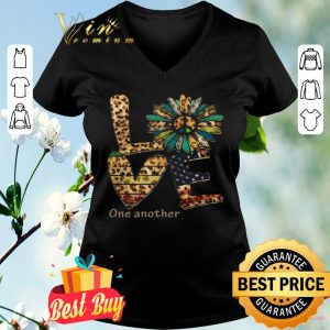 Love One Another Flowers Leopard American Flag shirt