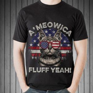 A'meowica Fluff Yeah Sunset American Flag shirt