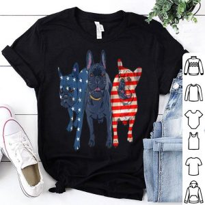 3 Frenchie Patriot Patriotic US American Flag July 4th