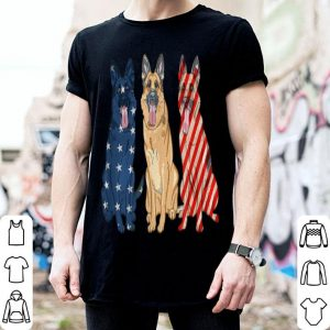 3 German Shepherd Patriotic American Flag July 4th shirt