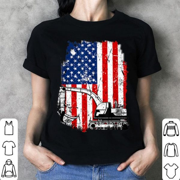 4th Of July American Flag Construction Backhoe Excavator shirt