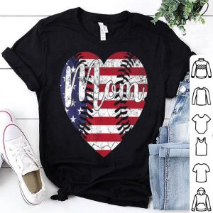 4th Of July Baseball American Flag Usa Heart Mom shirt