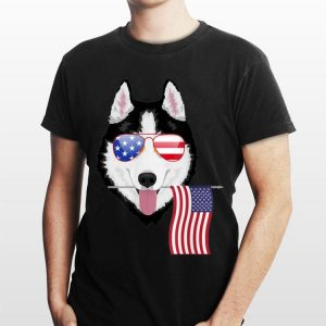 4th Of July Husky Hold American Flagunglasses shirt