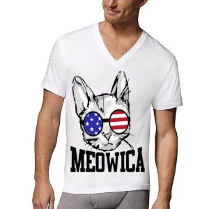 Meowica Sunglasses Cat 4Th Of July American Flag shirt