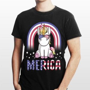 Merica Unicorn Patriotic USA Flag 4th of July Cute shirt