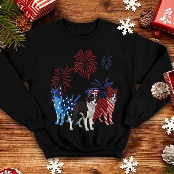 Red White Blue Border Collie American Flag 4th Of July shirt