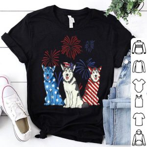 Red White Blue Husky USA Flag Firework 4th Of July shirt